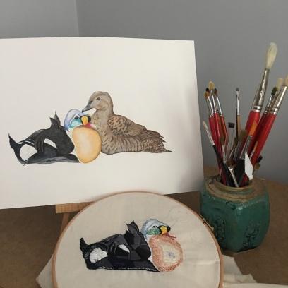 King Eider Drawing & Embroidery: copyright Paula Kuitenbrouwer