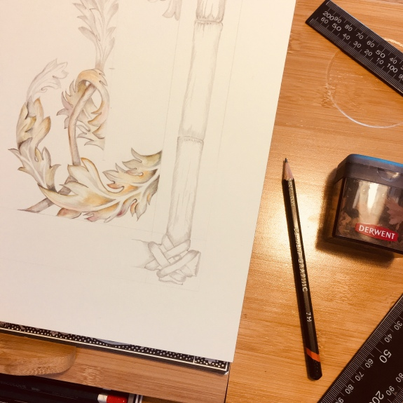 Bamboo Framed Classical Drawing (work in progress) Paula Kuitenbrouwer