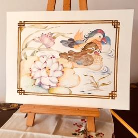 Mandarin Ducks with Lotus, watercolour Paula Kuitenbrouwer