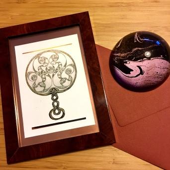 Desborough Iron age Mirror, framed. Paula Kuitenbrouwer
