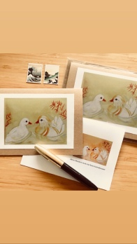 Albino Mandarin Ducks art cards by Paula Kuitenbrouwer