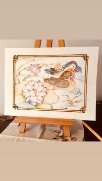 Mandarin Ducks in Lotus Pond by Paula Kuitenbrouwer