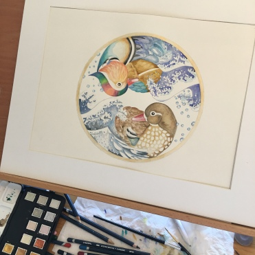 Mandarin Ducks Bobbing on The Great Wave off Kanagawa by Paula Kuitenbrouwer